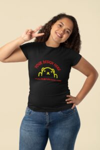 woman wearing black tee with two color print