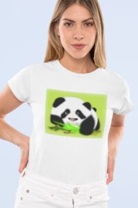 Woman wearing white tee with full color panda graphic on front
